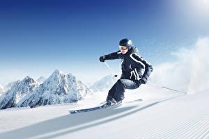 Обои Зимние Лыжный спорт Снег Едущий Спорт