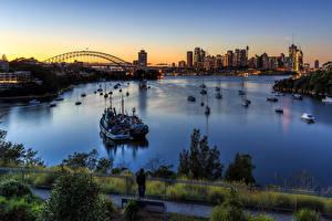 Фотографии Австралия Здания Речка Вечер Речные суда Сидней Города