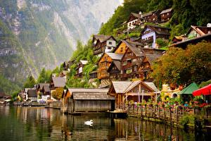 Обои Австрия Озеро Здания Кафе Hallstatt Города