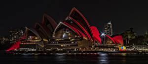 Картинки Австрия Сидней Ночь Opera House Автомобили