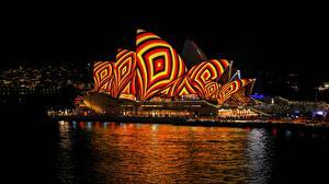 Картинка Австрия Сидней Ночью Opera House город