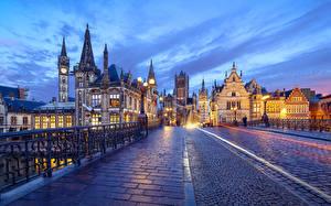 Фотография Бельгия Гент Дома Мосты Вечер Дороги Уличные фонари Города