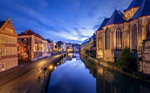 Картинка Бельгия Гент Дома Вечер Дороги Водный канал Города