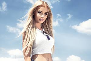 Фотографии Блондинка Смотрит Очки Волосы Девушки