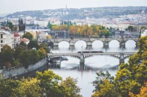 Фотография Мост Река Прага Чехия Карлов мост Czech Republic Города
