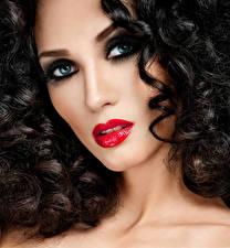 Обои Шатенка Лицо Красные губы Волосы Макияж Девушки картинки