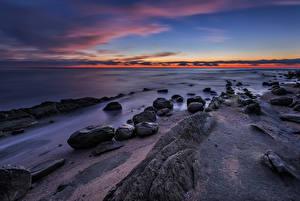Фотография Болгария Рассветы и закаты Берег Море Камень