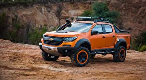 Фото Шевроле Оранжевый Пикап кузов 2016 Colorado Xtreme Concept Автомобили