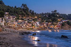 Фотография Чили Берег Здания Вечер Лодки Tome Города