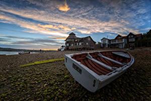 Фото Чили Дома Камни Лодки Вечер Мха Chiloe Island