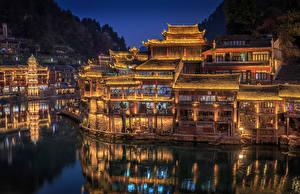Обои Китай Дома Реки Уличные фонари Ночь Hunan Province Города картинки