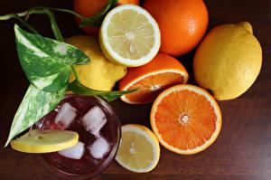 Фотография Цитрусовые Напитки Лимоны Апельсин Еда