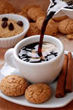 Картинки Кофе Печенье Чашка Еда