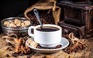 Картинки Кофе Бадьян звезда аниса Корица Чашка Сахар Зерна Еда