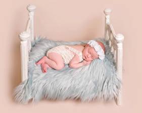 Картинка Цветной фон Кровать Младенцы Спящий Ребёнок