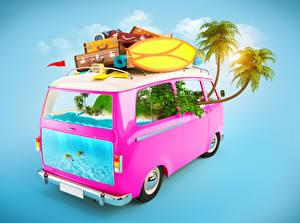 Картинка Оригинальные Автобус Пальмы Чемодан 3D Графика
