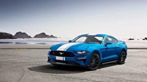Картинка Форд Синий 2019 Performance Pack Mustang EcoBoost Автомобили