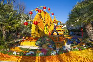 Обои Франция Парки Апельсин Дизайн Пальмы Lemon Festival Menton Природа картинки
