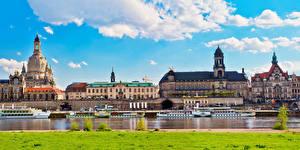 Картинки Германия Дрезден Дома Речка Причалы Речные суда Города