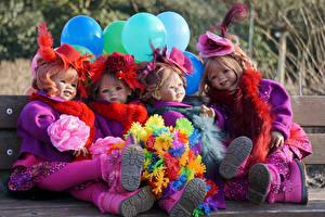 Фотографии Парк Букеты Куклы Девочки Шарики Grugapark Essen Природа