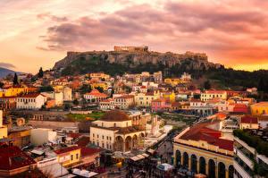 Фото Греция Здания Руины Рассветы и закаты Attica Города