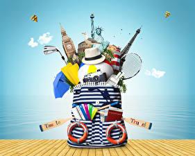 Картинки Сумка Шляпе Воздушный шар Фотокамера Туризм 3D Графика