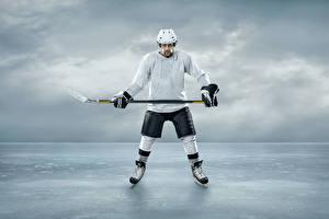 Обои Хоккей Мужчины Лед Шлем Униформа Спорт