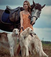 Фотографии Лошади Собаки Борзые Шатенка Russian hunting sighthound Девушки Животные