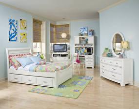 Картинка Интерьер Детская комната Дизайн Кровать Подушки