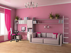 Картинки Интерьер Детская комната Дизайн Диван Люстра 3D Графика