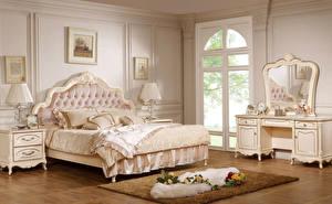 Обои Интерьер Розы Дизайн Спальня Кровать Лампа Ковер