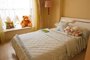 Картинка Интерьер Плюшевый мишка Игрушки Детская комната Дизайн Кровать