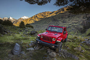 Картинка Jeep Красные Металлик 2018 Wrangler Unlimited Rubicon Автомобили