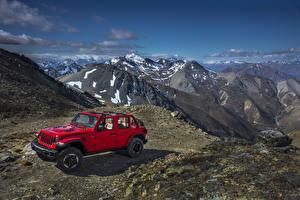 Обои Jeep Красный Металлик 2018 Wrangler Unlimited Rubicon Автомобили картинки