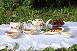 Обои Чайник Чай Печенье Черешня Чашка Продукты питания