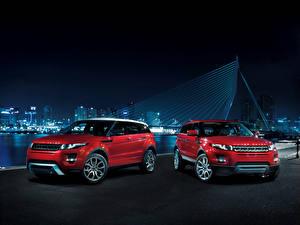 Обои Land Rover Вдвоем Красная Металлик 2010 Evoque 5-door Автомобили