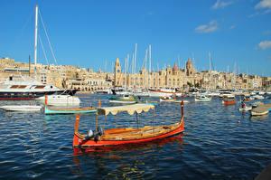 Фотография Мальта Здания Лодки Birgu Города