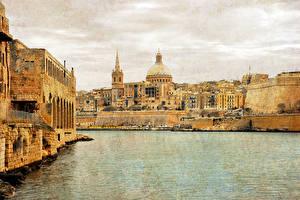 Обои Мальта Здания Залив Sliema Города