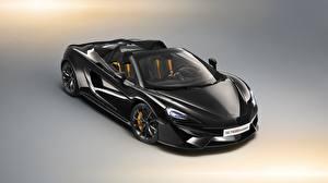 Обои для рабочего стола Макларен Черная Металл Родстер Spider 2018 570S Design Edition авто