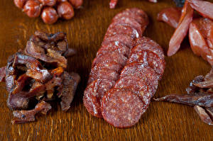 Картинка Мясные продукты Колбаса Нарезка Пища