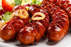 Фотография Мясные продукты Сосиска Вблизи
