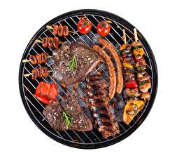 Обои Мясные продукты Сосиска Шашлык Белый фон Пища