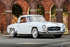 Обои Mercedes-Benz Старинные Белых Металлик 1961 190 SL машины