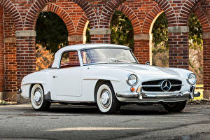 Обои Мерседес бенц Винтаж Белый Металлик 1961 190 SL Авто