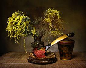 Картинка Мимозы Блины Натюрморт Икра Цветы