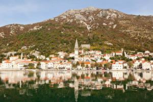 Обои Черногория Дома Холмы Perast Kotor bay Города картинки