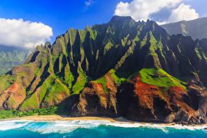 Картинки Горы Берег Гавайи Kauai Природа