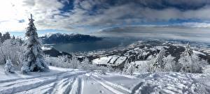 Фото Горы Озеро Швейцария Снег Альпы Lake Geneva Природа