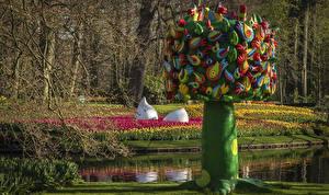 Обои Нидерланды Парки Весенние Пруд Тюльпаны Дизайн Keukenhof