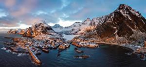 Обои Норвегия Горы Реки Здания Снег Bergen